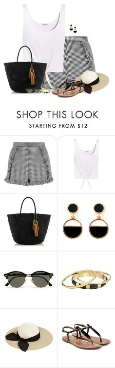 """Gingham Shorts"" by houston555-396 ❤ liked on Polyvore featuring Topshop, Splendid, Sensi Studio, Warehouse, Ray-Ban, Karen Kane, Eugenia Kim and Sam Edelman"