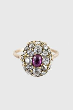 Antique Georgian Diamonds, Ruby & 14k Gold Dome Ring