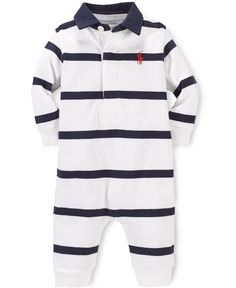 This precious soft cotton coverall from Ralph Lauren features a rugby striped pattern and a signature embroidered pony. | Cotton | Machine washable | Imported | Ralph Lauren baby boys' coverall     |