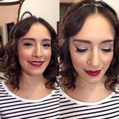 Maquillaje de Novia. Bridal Makeup. Sombreado muy natural, labios rojos. Classic.