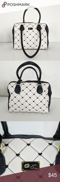 Betsey Johnson Luv Betsey Diamond Heart Quilt Tote 💋Luv Betsey by Betsey Johnson black and white quilted heart satchel. This is a beautiful and elegant purse. This is my favorite!!! Betsey Johnson Bags Totes