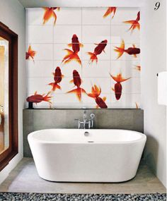 Goldfish tiles above the bath design and decoration Interior Exterior, Bathroom Interior Design, Br House, Bathroom Inspiration, Bathroom Ideas, Bathroom Mural, Bathroom Images, Bathroom Bath, Family Bathroom