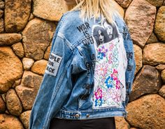 John Lennon and Yoko Ono vintage denim jacket custom with embroidered poster and handpainted peace quotes by @ceuhandmade