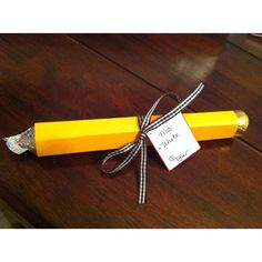 """Teachers gift. Candy """"pencil"""" made with a roll of mentos, a Hersey kiss and a Rolo."""