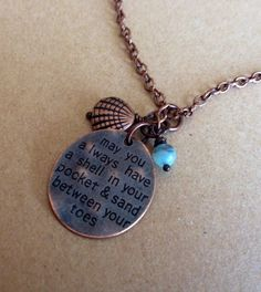 Beach Lovers Detailed Copper Necklace by McHughCreations on Etsy