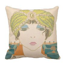 Art Deco design cotton throw pillow with Flapper glamour girl. Retro style Bohemian home decor accessory. This is a great unique accessory for a colorful boho bedroom, sitting room, sun room, or living room. Image is from a vintage French Fashion magazine.
