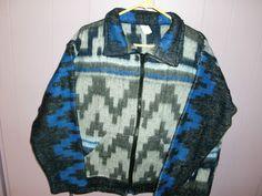 NEW SOUTH WESTERN Navajo Native Aztec Fleece Zipper Jacket Mens ...