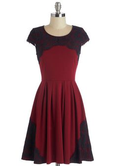 Intermission Impossible Dress - Knit, Lace, Mid-length, Red, Black, Exposed zipper, Lace, Party, A-line, Cap Sleeves, Valentine's