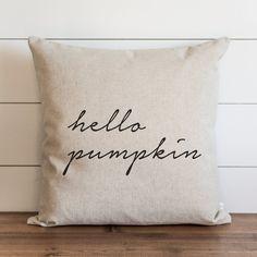 Fall Pillow Cover // Hello Pumpkin // Autumn Pillow Cover // Thanksgiving Decor // Fall Home Decor // Farmhouse Decor Pumpkin Pillows, Fall Pillows, Diy Pillows, Linen Pillows, Throw Pillows, Decorative Pillows, Homemade Pillows, Fall Home Decor, Autumn Home