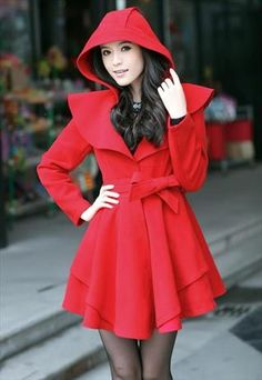 Thick and warm woolen Coat Dress - red