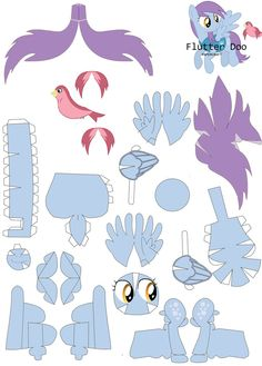 Flutterdoo papercraft pattern by RainyHooves