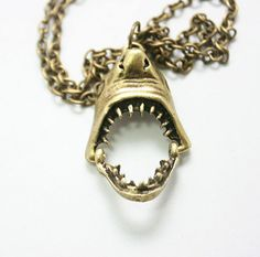 Shark Necklace in Bronze with 18in chain,  Bite Jaw Jewelry, Animal Necklace, Shark Head. $6.95 - IT'S SO PERFECT