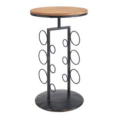 Linon Round Wine Storage Side Table - AHW803AS1