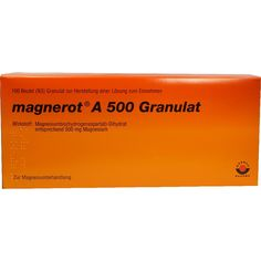 MAGNEROT A 500 Beutel Granulat:   Packungsinhalt: 100 St Granulat PZN: 06321308 Hersteller: Wörwag Pharma GmbH & Co. KG Preis: 59,67 EUR…
