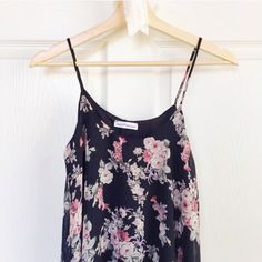 Black Floral Swing Tank Sheer black floral tank top with black lining. Never worn, no tags, perfect condition. Tops Tank Tops