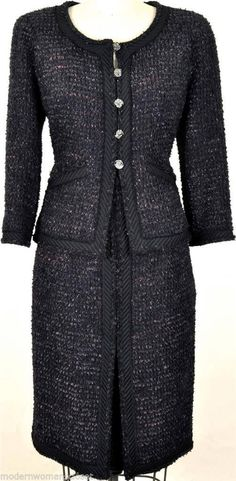 Exquisite RARE Chanel 09A Classic Tweed Suit Jacket Skirt New 42 Dress Blazer | eBay