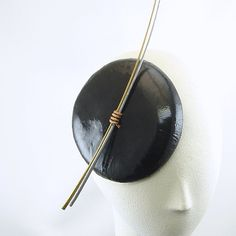 Handmade Fascinator Hat New Years Eve Womens Hat in Black Patent Leather with Silver Gold  and Copper
