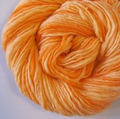 Handspun Yarn ORANGE SHERBERT 121 Yards by TheTwistedPurl on Etsy, $28.00