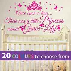 PERSONALISED PRINCESS any name, ONCE UPON A TIME girls wall art sticker nursery
