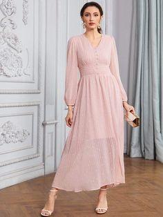 Dot Dress, Dress P, Wrap Dress, Types Of Sleeves, Fashion News, Bridesmaid Dresses, Bridesmaids, Pearl Beads, Formal Dresses