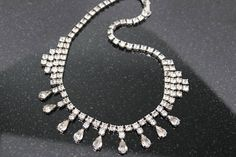 Vintage Rhinestone Necklace 15 long with dangle