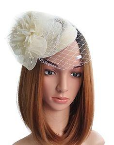 bc440bdd Coolwife Fascinator Hats Pillbox Hat British Bowler Hat Flower Veil Wedding  Hat Tea Party Hat Review