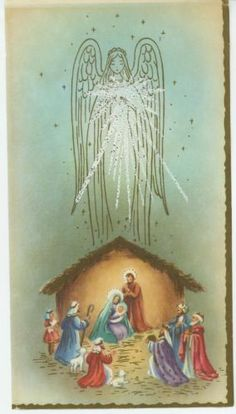 Beautiful Vintage Nativity Christmas Card