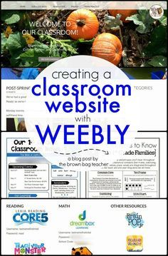 Great tips for Creating a simple Classroom Website using Weebly. I love seeing the examples of her 1st grade classroom website! Easy way to communicate with families. (The Brown-Bag Teacher)