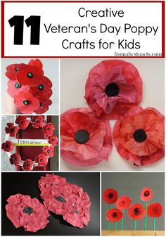 11 Creative Veteran's Day Poppy Crafts - From ABCs to ACTs While November may be most widely known for the Thanksgiving holiday and the Black Friday sales, it is important to remember that those are not the only im Remembrance Day Activities, Remembrance Day Art, Veterans Day Activities, Art Activities, Poppy Craft For Kids, Art For Kids, Crafts For Kids, Fall Crafts, Holiday Crafts