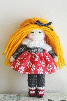 13 Crochet Doll  Ready to ship. Long strawberry by LinaMarieDolls ♡