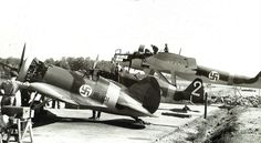 Polikarpov Morane Saulnier MS 406 & Heinkel He 115 of the Finnish Air Force. Luftwaffe, Ww2 Aircraft, Military Aircraft, Finland Air, Finnish Air Force, Ww2 Planes, Historical Pictures, Armed Forces, World War Two