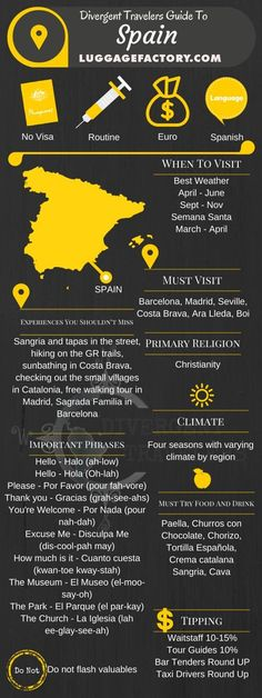 Divergent Travelers Travel Guide, With Tips And Hints To Spain . This is your ultimate travel cheat sheet to Spain. China Travel Guide, Spain Travel Guide, Travel Info, Travel Guides, Travel Tips, Travel Advisor, Travel Hacks, Places To Travel, Travel Destinations