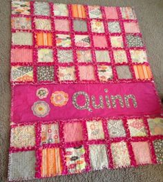 Minky rag quilt - I like the name applique on this