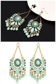 ATMOSPHERE | BOHEMIAN STYLE EARRINGS    Earrings Neptune would choose herself. Tear-shaped stones of misted azure find perfect harmony with tiny, sparkling teal colored gems, as splashes of gold lend accents of antiquity. A full-bodied, versatile delight of feminine charm, this must-have item can mix and match with a full wardrobe of outfits – from understated slips to high-end fashionwear.