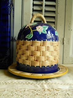 Vintage Pottery Bee Skep Cloche Cobalt Blue Cheese And Fruit Saver Home Decor Vintage Container Paris Apt Shabby Chic Prairie Cottage. $45.00, via Etsy.