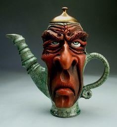 Frustrated Teapot Face Jug, Raku Pottery folk art sculpture by Mitchell Grafton