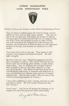 Eisenhower Signed D-Day Message  $7,500
