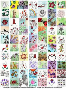2011 Digital Collage Sheet 1 inch squares of my original art, 70 Ladybugs, flowers, & MUCH MORE - via Etsy ~ Melissa Johnson