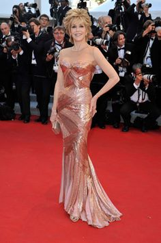 """Jane Fonda - Atelier Versace  Actress Jane Fonda attends opening ceremony and """"Moonrise Kingdom"""" premiere wearing an Atelier Versace gown during the 65th Annual Cannes Film Festival at Palais des Festivals on May 16, 2012, in Cannes."""
