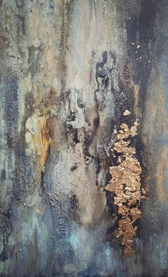 In My Dreams This is an original textured abstract painting on 15 x 30 x 1.5 gallery-wrapped canvas. Richly textured and distressed in shades of turquoise blue/green, rusty gold, and black. Intricately crackled and layered details have a unique and rustic-patina feel. Sides