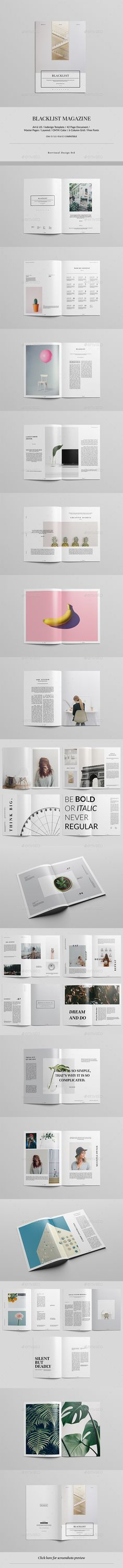 Blacklist Magazine / Lookbook — InDesign INDD #article #trend • Download ➝ https://graphicriver.net/item/blacklist-magazine-lookbook/19235307?ref=pxcr