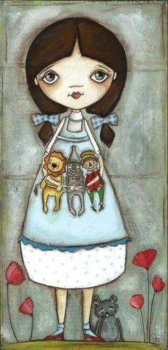 Print of my Original Folk ARt Painting Dorothy and por DUDADAZE