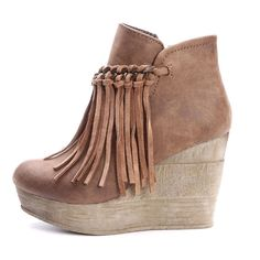 Sbicca Tan Fringe and Chain Wedge Bootie (Zepp)