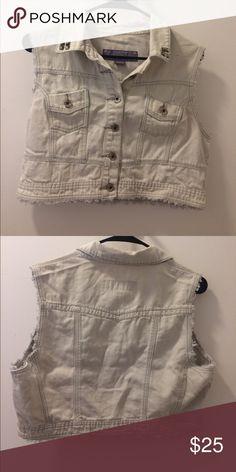 White studed vest Denim bleached vest, 8/10 condition Jackets & Coats Vests