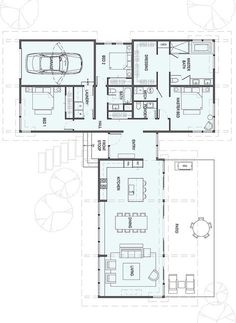 Apartment Floor Plan 2 Bedroom Bathroom 32 Ideas For 2020 Modern House Plans, Small House Plans, Modern House Design, Home Design Floor Plans, House Floor Plans, Building Plans, Building A House, Stillwater Dwellings, L Shaped House