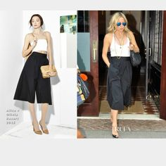 Alice and Olivia wide leg gaucho pants & top As seen on Jennifer Lopez & Kate Hudson. These are the exact same pants! There was another gaucho A+O made, but it wasn't as cute as these. These sold out during pre-order time. These are new, but w/out tags. There is a mark through the tag too in order to prevent returns. One of the hanger loops is a little loose, otherwise perfect! 17 in inseam. Will come w sequin Hugo Buscoti for Victoria Secret Tube top (pic) size 6. Looks great together! Same…