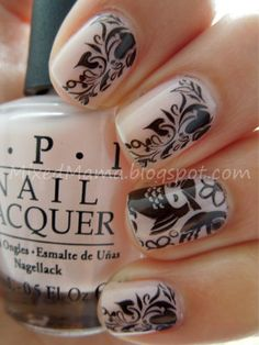 OPI's You Callin' Me A Lyre? + MASH Nail Art polish in Black and Stamped Owls and Vines From Bundle Monster's BM-309 Plate