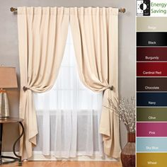 This curtain set features innovative triple weaved fabric construction allowing for single layer, unlined thermal insulated blackout curtains. This set includes blackout curtain panel pair and crushed sheer curtain panel pair.