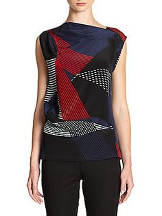 Abstract Stripe-Print Silk Blouse