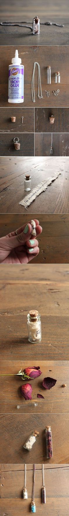 DIY Necklace Idea // Cute idea for keeping special momentos like flowers, sand, etc.